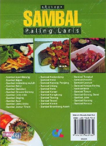 Cover Belakang Buku Resep Sambal Paling Laris (full color)