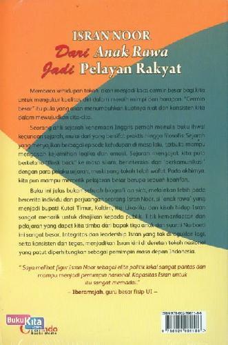 Cover Belakang Buku Isran Noor dari Anak Rawa Jadi Pelayan Rakyat