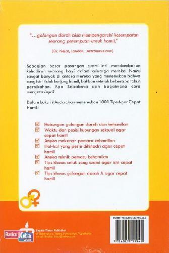 Cover Belakang Buku 1001 Tips Cepat Hamil Berdasarkan Golongan Darah Jilid 1 Darah A