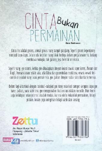 Cover Belakang Buku Cinta Bukan Permainan