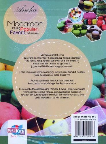 Cover Belakang Buku Aneka Macaroon Paling Populer, Favorit, Istimewa
