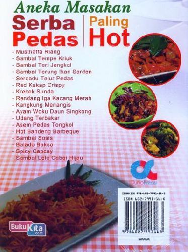 Cover Belakang Buku Aneka Masakan Serba Pedas Paling Hot (full color)