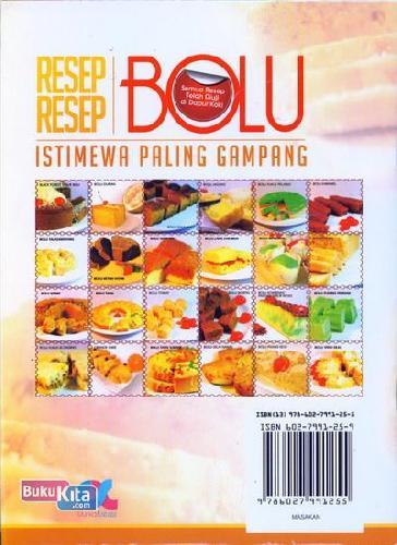 Cover Belakang Buku Resep-Resep Bolu Istimewa Paling Gampang (full color) Food Lovers