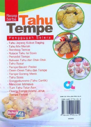 Cover Belakang Buku Resep Serba Tahu Tempe Penggugah Selera (full color)