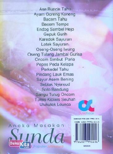 Cover Belakang Buku Aneka Masakan Sunda Paling Favorit, Populer, Istimewa