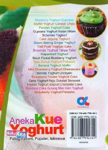 Cover Belakang Buku Aneka Kue Yoghurt Paling Favorit, Populer, Istimwa (full color)