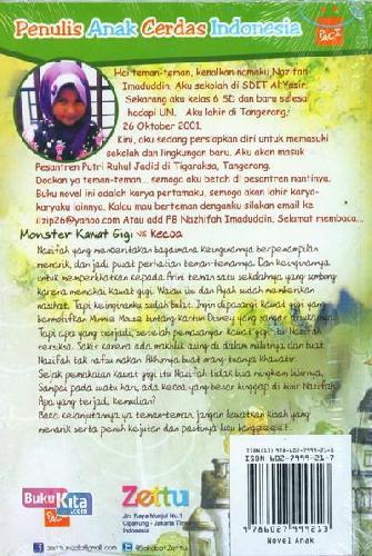Cover Belakang Buku Monster Kawat Gigi vs Kecoa