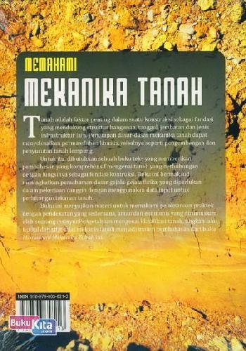 Cover Belakang Buku Memahami Mekanika Tanah