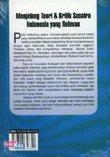 Cover Belakang Buku Menjelang Teori dan Kritik Susatra Indonesia yang Relevan (Cover Baru)