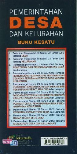 Cover Belakang Buku Pemerintahan Desa dan Kelurahan Buku Kesatu (2013)