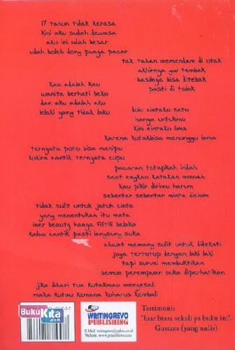 Cover Belakang Buku CINTAKU ENAM Karena Kutakbisa Diam (Sebuah Novel Merah Jambu)