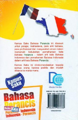 Cover Belakang Buku Kamus Saku Bahasa Perancis