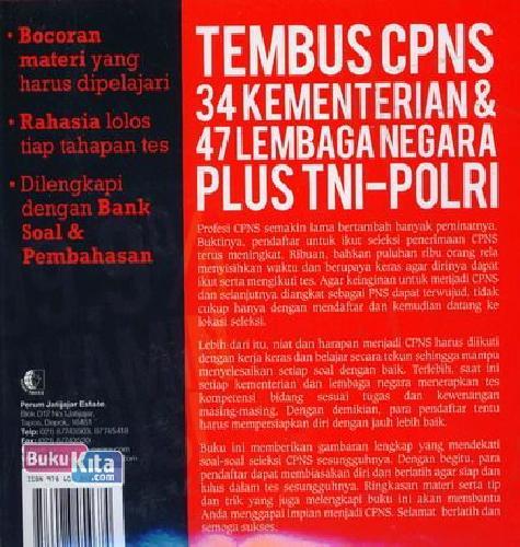 Cover Belakang Buku 99,9% Dijamin Lulus Tembus CPNS (34 Kementerian dan 47 Lembaga Negara Plus TNI-Polri)