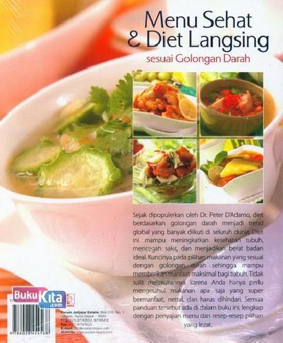 Cover Belakang Buku Menu Sehat dan Diet Langsing sesuai Golongan Darah