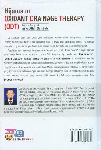 Cover Belakang Buku Hijama or Oxidant Drainage Therapy (ODT) : Semua Penyakit Insya Allah Sembuh