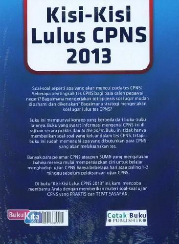 Cover Belakang Buku Kisi-Kisi Lulus CPNS 2013 (Soal dan Pembahasan Lengkap) - Edisi Terbaru