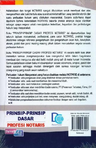 Cover Belakang Buku Prinsip-Prinsip Dasar Profesi Notaris