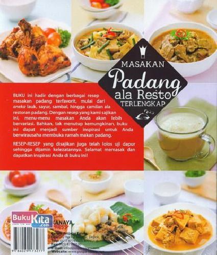 Cover Belakang Buku Masakan Padang ala Resto Terlengkap
