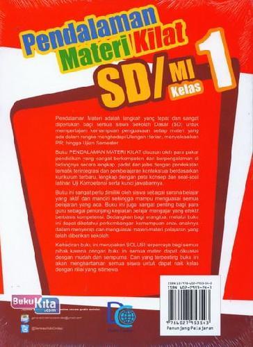 Cover Belakang Buku Pendalaman Materi Kilat SD/MI Kelas 1