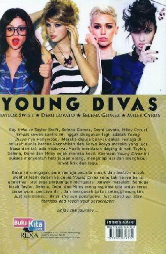 Cover Belakang Buku Young Divas (Taylor Swift, Demi Lovato, Selena Gomez, Miley Cyrus)