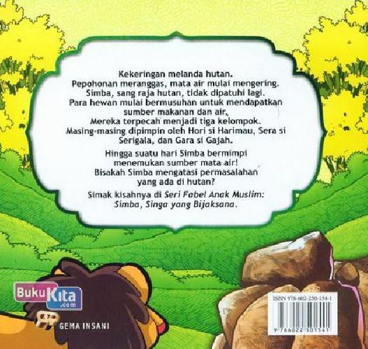 Cover Belakang Buku Seri Fabel Anak Muslim: SIMBA Singa yang Bijaksana