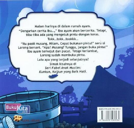 Cover Belakang Buku Seri Fabel Anak Muslim: Kunkun Kalkun yang Baik Hati