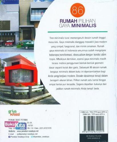 Cover Belakang Buku 86 Rumah Pilihan Gaya Minimalis
