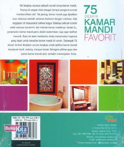 Cover Belakang Buku 75 Desain Kamar Mandi Favorit