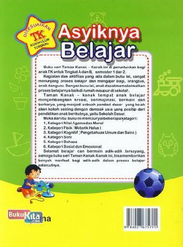 Cover Belakang Buku Asyiknya Belajar (untuk TK B Semester 1) (Promo Luxima)