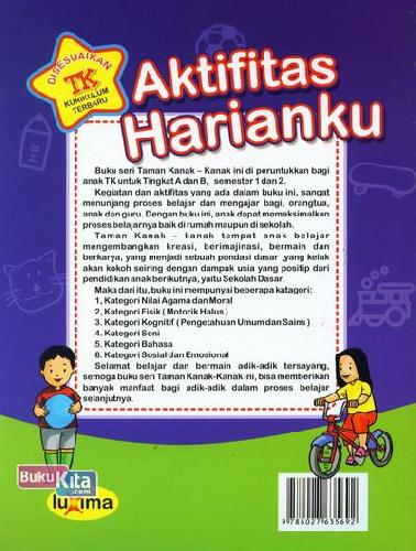 Cover Belakang Buku Aktifitas Harianku  (Promo Luxima)