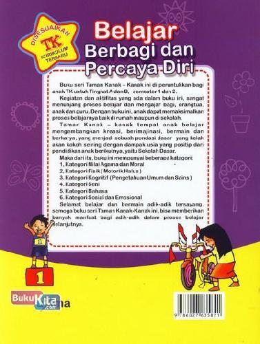Cover Belakang Buku Belajar Berbagi dan Percaya Diri (untuk TK B Semester 1) (Promo Luxima)