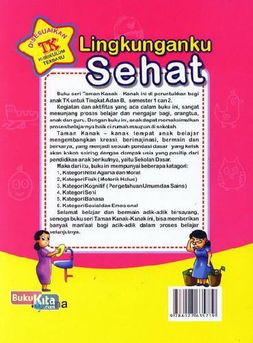Cover Belakang Buku Lingkungan Sehat (untuk TK A Semester 2) (Promo Luxima)