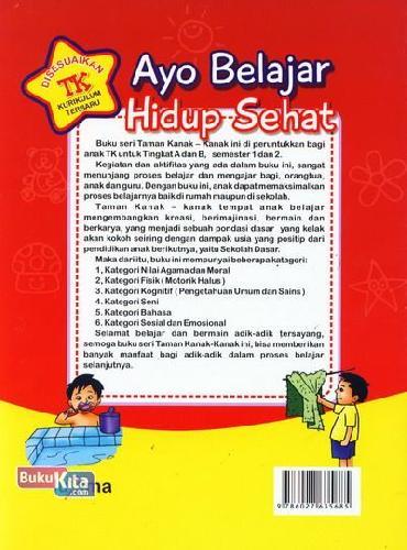 Cover Belakang Buku Ayo Belajar Hidup Sehat (untuk TK A Semester 1) (Promo Luxima)