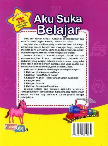 Cover Belakang Buku Aku Suka Belajar (untuk TK A Semester 1) (Promo Luxima)