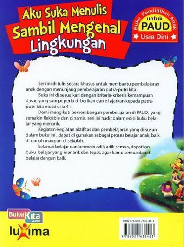 Cover Belakang Buku Aku Suka Menulis Sambil Mengenal Lingkungan (Promo Luxima)