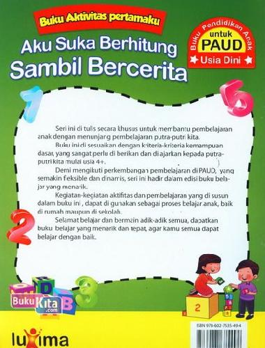 Cover Belakang Buku Aku Suka Berhitung Sambil Bercerita (Promo Luxima)
