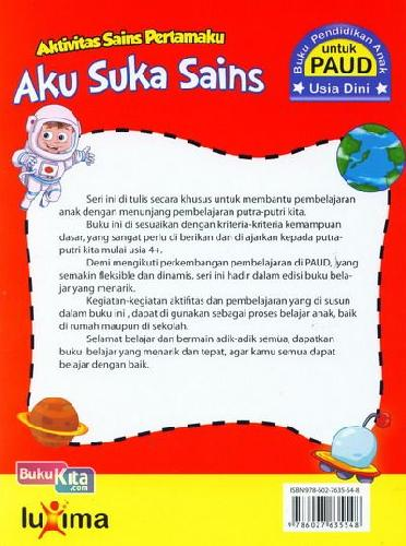 Cover Belakang Buku Aku Suka Sains (Aktivitas Sains Pertamaku) (Promo Luxima)