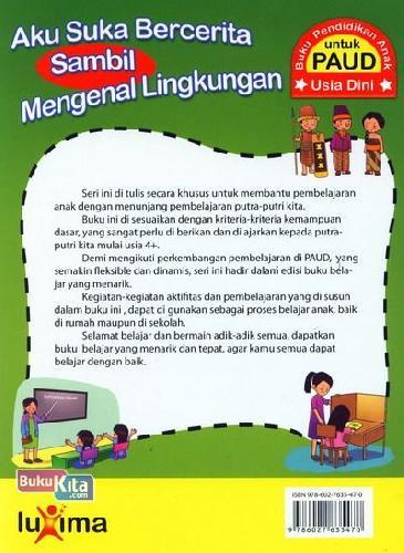 Cover Belakang Buku Aku Suka Bercerita Sambil Mengenal Lingkungan (Promo Luxima)