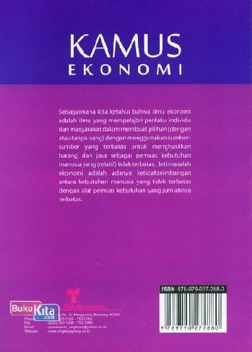 Cover Belakang Buku Kamus Ekonomi (Kamus Bergambar)