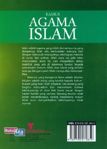 Cover Belakang Buku Kamus Agama Islam (Kamus Bergambar)