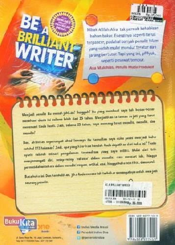 Cover Belakang Buku Be A Brilliant Writer (Jurus Sukses Menjadi Pendekar Pena)