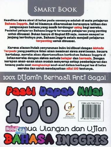 Cover Belakang Buku Pasti Dapat Nilai 100 Disemua Ulangan Ulangan dan Ujian Bahasa Inggris Kelas 6