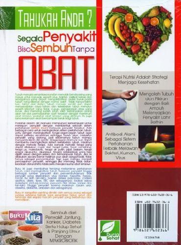 Cover Belakang Buku Tahukah Anda? Segala Penyakit Bisa Sembuh Tanpa Obat (Full Color)