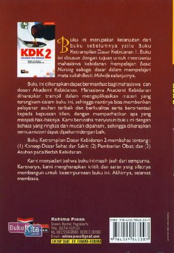 Cover Belakang Buku KDK 2 (Ketrampilan Dasar Kebidanan)