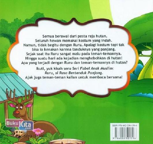 Cover Belakang Buku Seri Fabel Ank Muslim: Ruru - Si Rusa Bertanduk Panjang (full color)