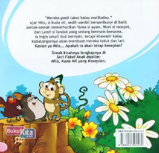 Cover Belakang Buku Seri Fabel Anak Muslim: NILO - Kuda Nil Yang Kesepian