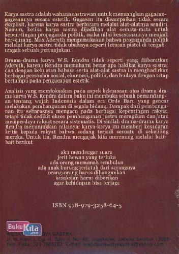 Cover Belakang Buku Sastra dan Kekuasaan: Pembicaraan atas Drama-drama Karya W.S. Rendra