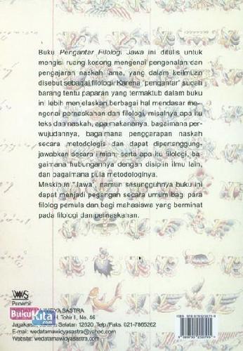 Cover Belakang Buku Pengantar Filologi Jawa
