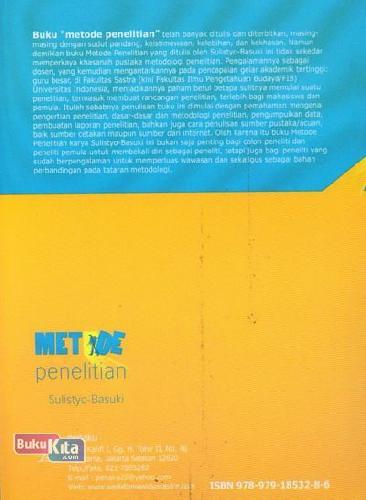 Cover Belakang Buku Metode Penelitian