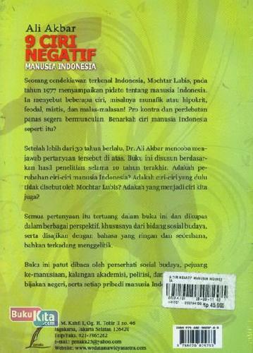 Cover Belakang Buku 9 Ciri Negatif Manusia Indonesia